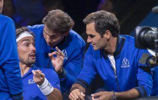 Fabio Fognini con Rafa Nadal e Roger Federer
