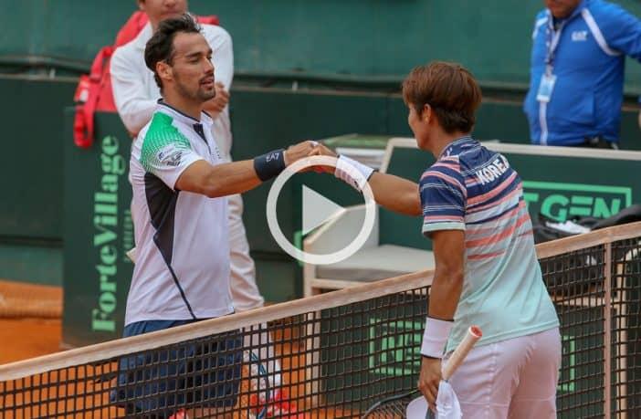Coppa Davis, Fognini passeggia con Lee - Video