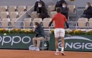 La pallata (involontaria) di Djokovic al giudice di linea