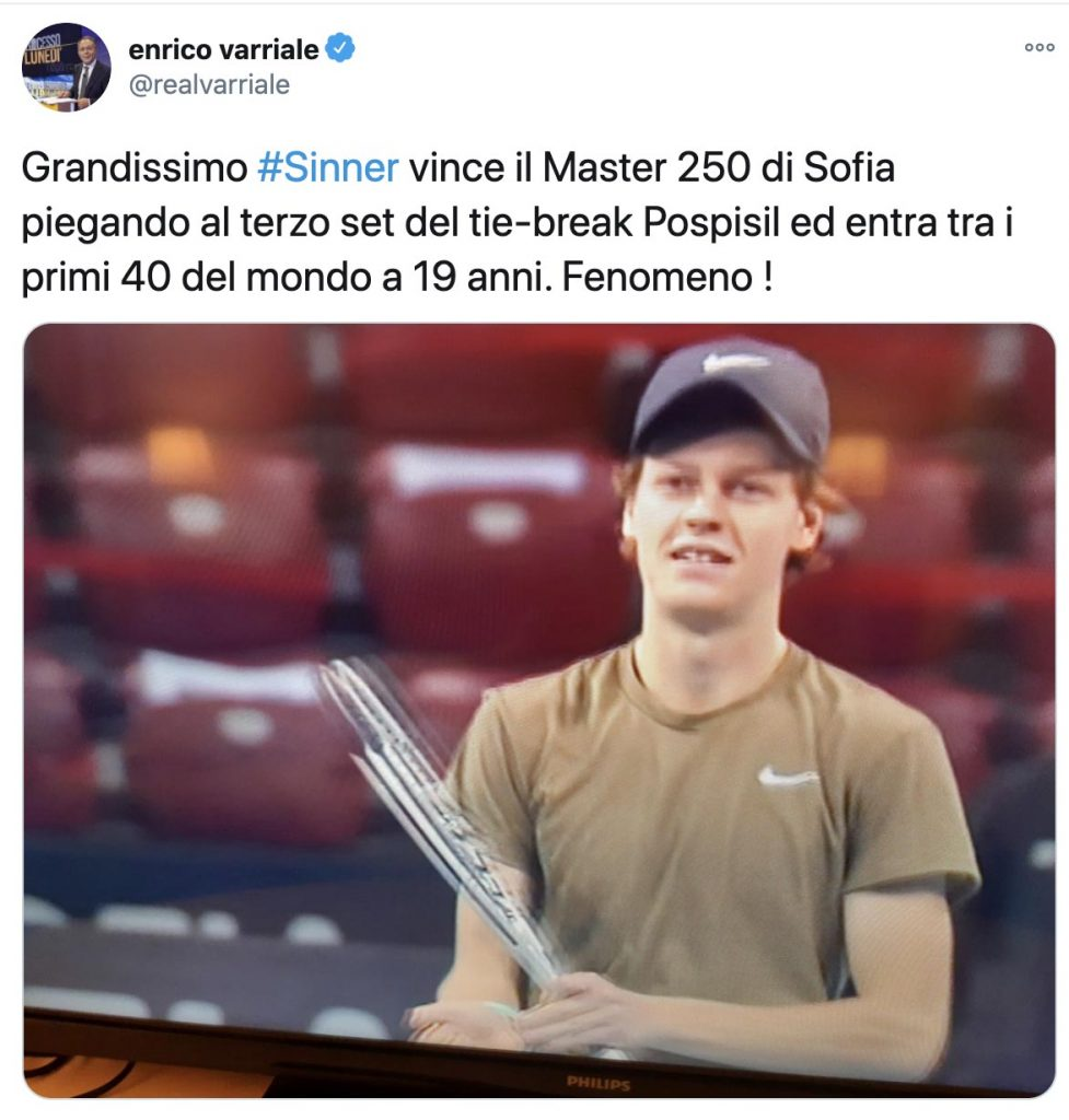 Il tweet di Varriale su Sinner