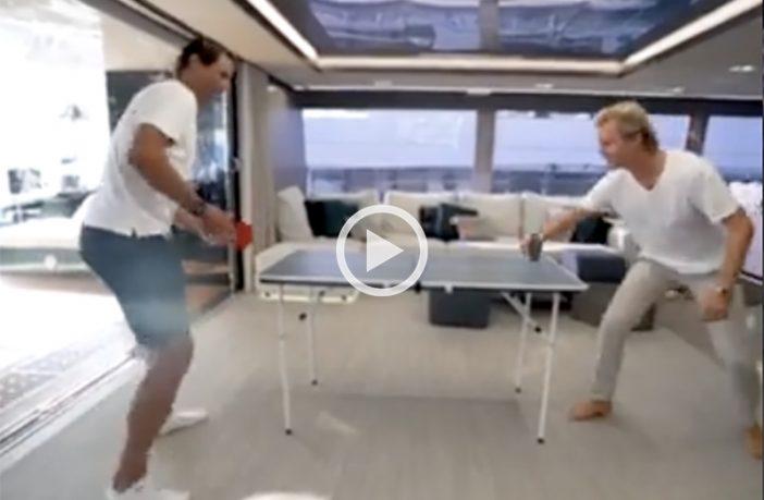 Nadal e Rosberg, sfida stellare a ping pong